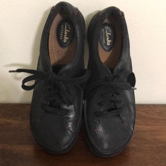 Clark Artisan Black Tennis Shoes Sz